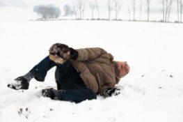 old man falls on snow
