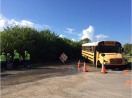 sinkhole causes school bus to get stuck