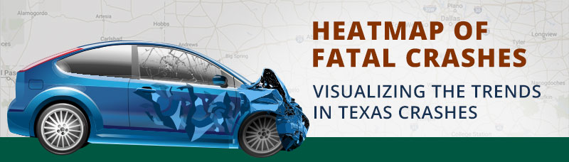 Car Crash Graphic, text reads: Heatmap of Fatal Crashes - Visualizing The Trends in Texas Crashes