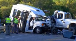 bus and pickup truck accident