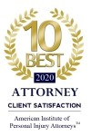 Herrman & Herrman's award for 10 best attorneys for client satisfaction in 2020 by the American Institute of Personal Injury Attorneys