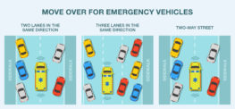 Move over for emergency vehicles. Correct behaviour. Flat vector illustration infographic.
