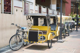 pedicab parked in the sideway