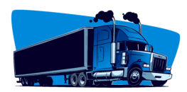 blue 18 wheeler graphic with black smoke emitting form exhaust