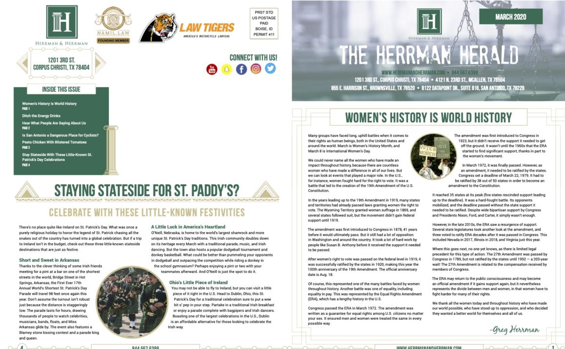 Herrman & Herrman March News