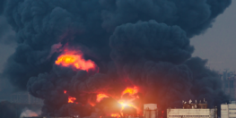 Fire and smoke from the pipeline explosion in Corpus Christi