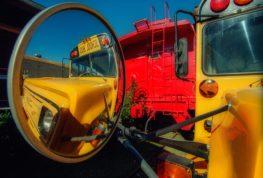 bus driver looking at blindspots