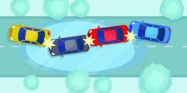 grafico de accidente de multiples autos